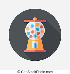 Gumball Machine flat icon with long shadow,eps10