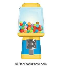 Gumball machine with square display in yellow and blue...