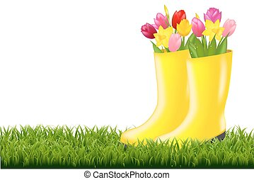 Gumboot With Green Grass And Tulips