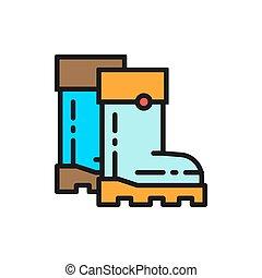 gumboots, botas, color, calzado, icon., plano, caucho, línea