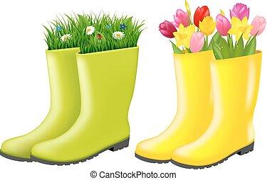 gumboots, flores, conjunto, pasto o césped
