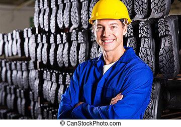 gumboots, plié, ouvrier, usine, bras