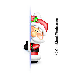 An adorable Santa peeking around a white frame.