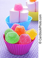 gumdrops and marshmallows - gumdrops of different colors and...