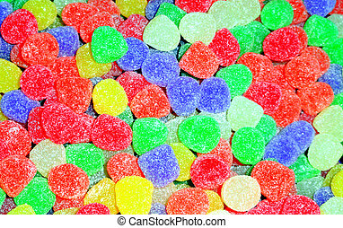 Colorful gumdrops on display.