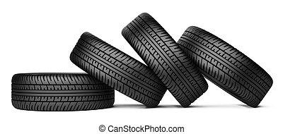 gumiabroncs, gördít, autó, négy, fekete, cölöp