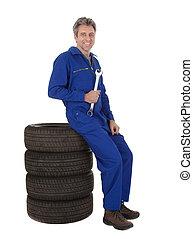 gumiabroncsok, autó, automechanic, ülés