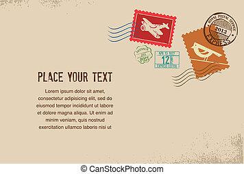 gummi, årgång, frimärken, vektor, kuvert