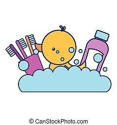 gummi, badezimmer, shampoo, zahnbürsten, ente