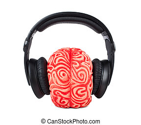 gummi, hjerne, hovedtelefoner, menneske