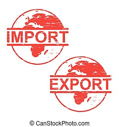 gummi, import, frimærker, eksporter