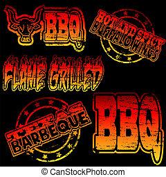 gummi stämpla, barbecue
