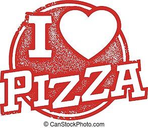 gummi stämpla, kärlek, pizza