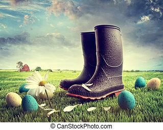 gummi støvle, hos, påske ægger, på, græs