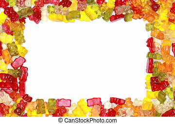 Gummy Bears Frame - Close-up of delicious colorful gummy...