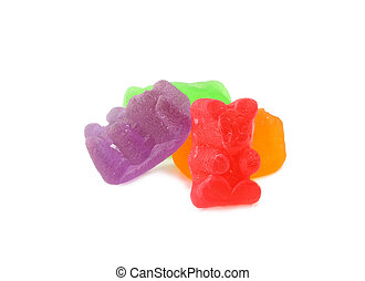 gummy bears on a white background