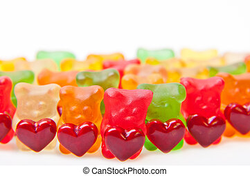 Gummy bears - Army of gummy bears with red heart.