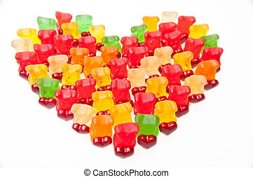 Gummy bears - Army of gummy bears with red hearts.