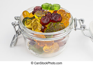 gummy, versuikeren, in, glas pot