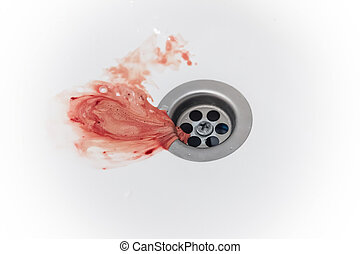 saliva with gum blood and toothpaste after brushing drains into the drain hole of the sink