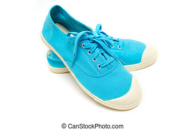 bright blue sneakers on a white background