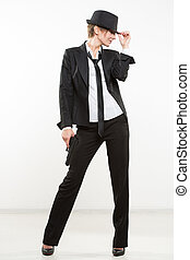 gun., クラシック, hat., ギャング, 保有物, スーツ, 女の子