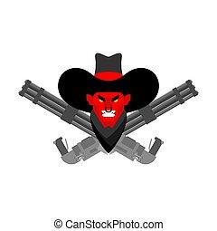 gun., デーモン, 悪魔, カウボーイ, 西, 怒る, 悪魔, 顔, 交差させる, 西部, gunfighter., 野生, minigun.