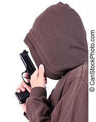gun., adolescente, capuz