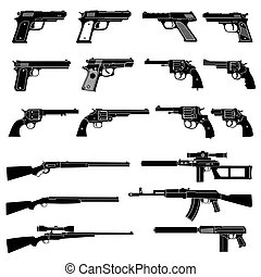 Gun and automatic weapon vector icons. Military combat firearms pictograms