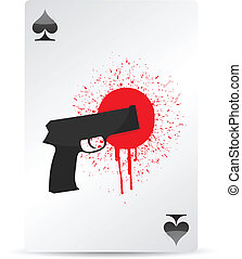 gun and blood on a playing card illustration design
