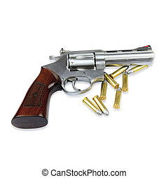 Gun and bullets on white background