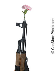 gun and flower on a white background