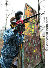 game in a paintball - Gun and mask for game in a paintball
