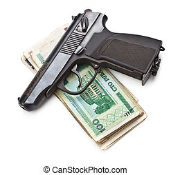 Gun And Money - gun and money isolated on white background