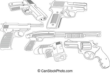 Gun and Weapons - illustration of guns and weapons...