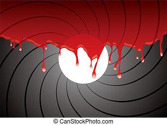 gun barrel inside blood