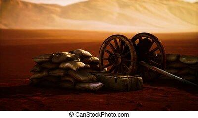 gun behind sandbags during the U.S. Civil War
