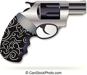 Gun black metal icon vector logo