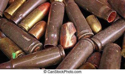 Gun bullets heap bullet war crime gun control concept