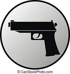 Gun button on white background. Vector illustration.
