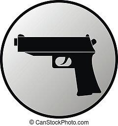 Gun button on white background. Vector illustration.