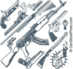 Clip art collection of various firearms