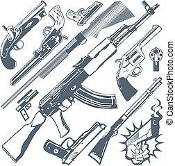 Gun Collection - Clip art collection of various firearms