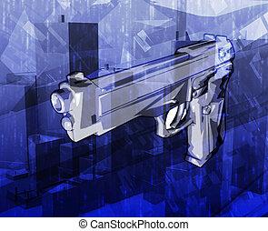 Gun crime Abstract concept digital illustration