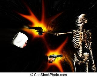 Gun Crime Equals Death 101 - A conceptual abstract image...