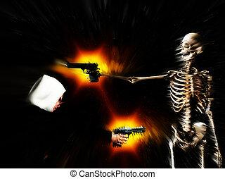 Gun Crime Equals Death - A conceptual abstract image showing...