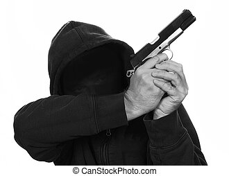 Gun Crime - masked man holds gun is aiming up