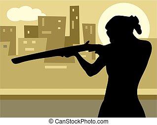 Gun Culture - woman pointing a rifle