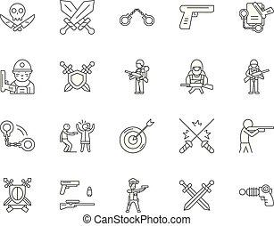 Gun dealers gunsmith line icons, signs, vector set, outline ...