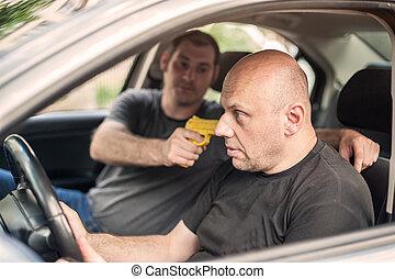 Gun Disarm. Self defense techniques against a gun point in the car.